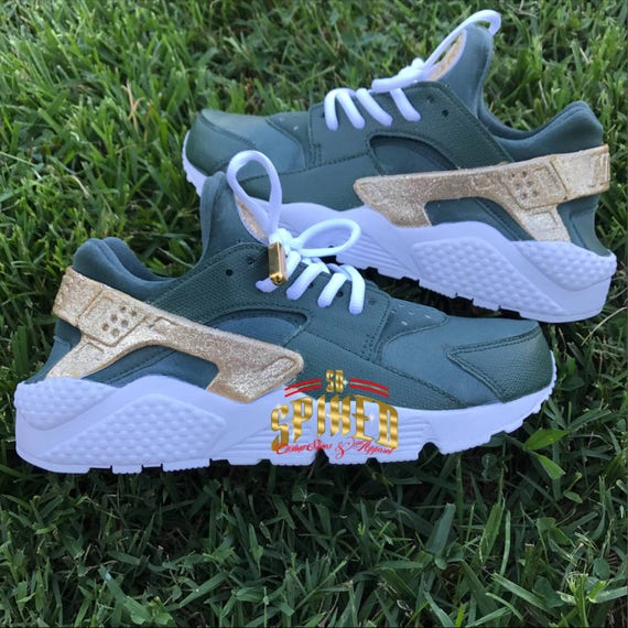 check out fcbc7 122fe ... order custom red orolive green nike air huaraches with glitter big etsy  e5e97 ecc25