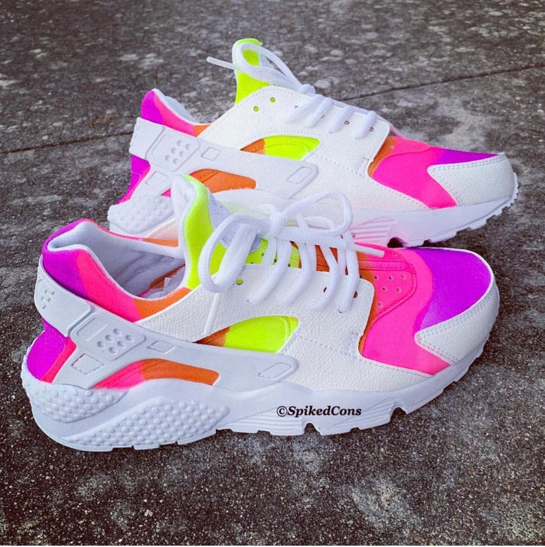 b9efaf90e37df Custom Rainbow Neon Nike Huaraches (Purple Pink Orange and Yellow)