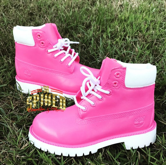 Pink and White Custom Timberlands