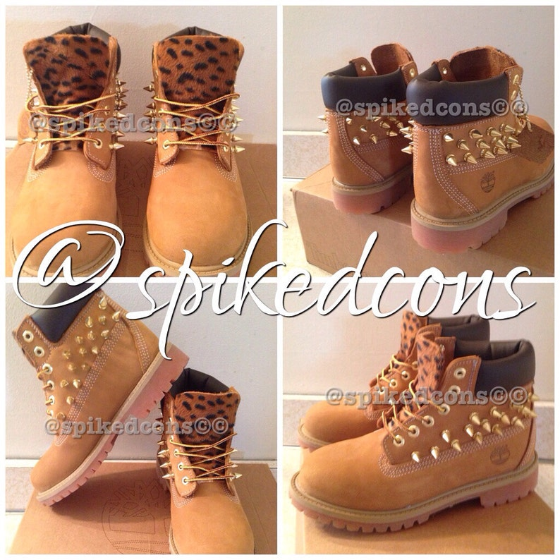 3c95aa253be5 Spiked timberlands youth sizes 12.5c to 3y cheetah leopard