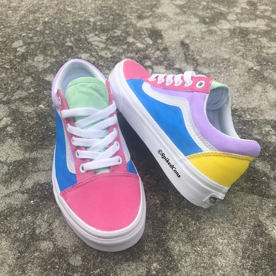 Cotton Candy Vans Custom Old Skool Big KidsAdults Men Women Pink Purple Green Yellow Blue