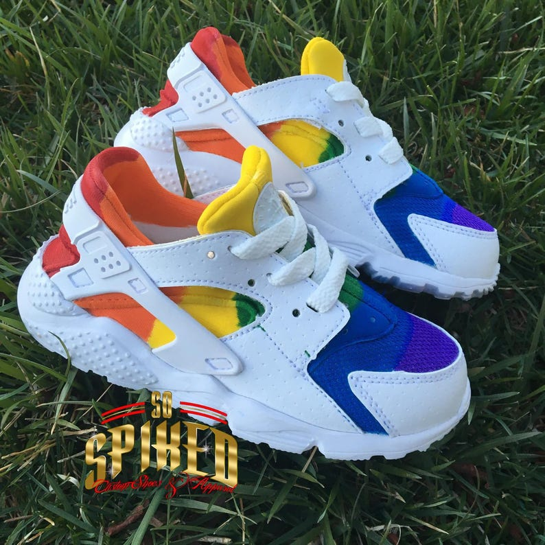 100% authentic a3419 60851 Custom Rainbow Nike Air Huaraches -Toddler