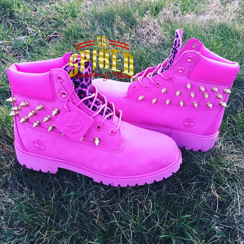 finest selection 9cd81 aaa83 Custom HOT Pink Timberlands BIG Kids   Women ONLY see other   Etsy