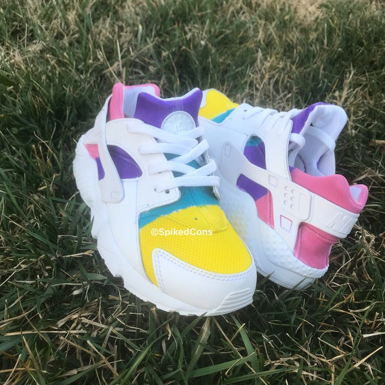 0d82520660c2d Custom Rainbow Nike Huaraches (Pink Purple Yellow and Turquoise)