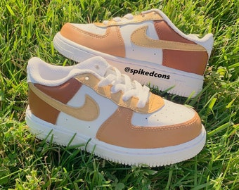 """Custom """"3 Shades of Brown"""" Nike Air Force 1 (AF1)Check Sizing Before Ordering"""