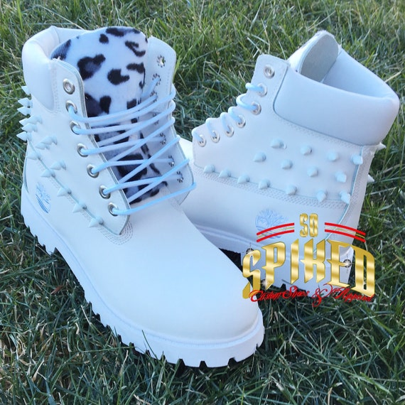 502fcb06ab2e Custom white spiked leopard timberlands