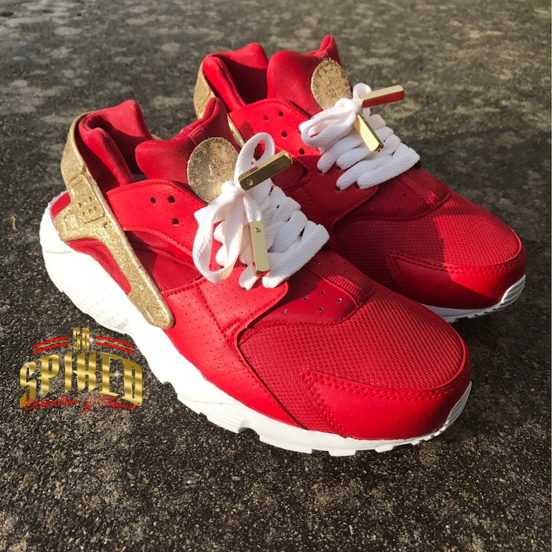 aad099e4a1cf Custom Red and Gold Glitter Nike Air Huaraches with glitter