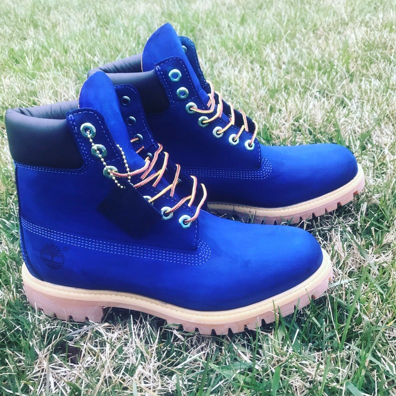 5b6c6d239ef Custom Blue Timberlands put size in notes when ordering