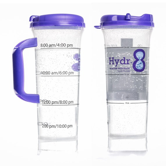 Blue Hydr-8 Time Marked Sports Water Bottle Hydration System 32oz 1000mL