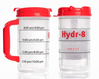 Red Hydr-8 32oz water bottle with time-trackable goals.  Air Insulated to keep water cold