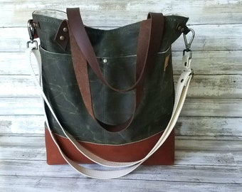 Crossbody Tote, waxed canvas bag, waxed canvas tote