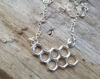 Sweet as Honey Silver Honey Comb Necklace