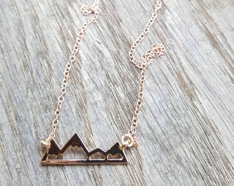 The Mountains are Calling and I must Go- Rose Gold Necklace