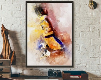 new arrival cf9d4 926bd Kobe Bryant LA Lakers, Sports Art Print, Basketball Poster, Kids Decor,  Watercolor Abstract Drawing Print