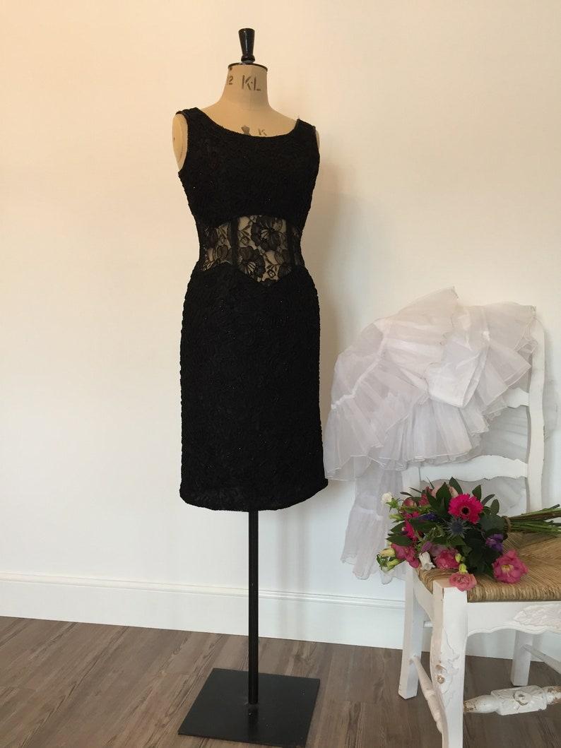 b223bc80bf9 Vintage Hamells little black dress beaded ribbon lace size 14