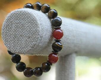 Find Your Path Bracelet - Tiger's Eye and Carnelian Healing Bracelet - Bracelet for Her - Vegan Bracelet - Brown and Red Bracelet