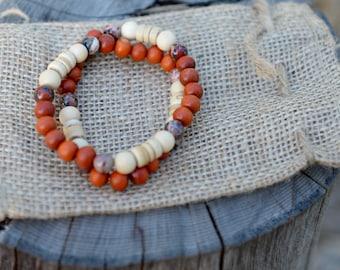 Soul Fire Double-Wrap Bracelet - Sustainable woods and brecciated jasper - Women's Bracelet - Men's Bracelet