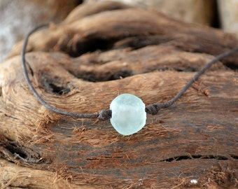 Ocean Blue Recycled Glass Necklace - Eco-Friendly Necklace - Vegan Necklace - Vegan Leather Choker