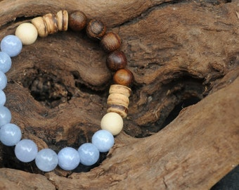 Radiant Ocean - Aquamarine and Wood Stretch Bracelet  - Vegan Stacking Bracelet - Boho Stacking Bracelet - Gift for Her