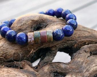 Embrace Change - Lapis Lazuli and Ocean Jasper Healing Bracelet - Beaded Stretch Bracelet