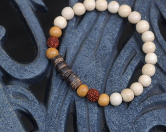 Awareness - Wood and Rudrushka Seed Stretch Bracelet - Boho Bracelet - Stacking Bracelet