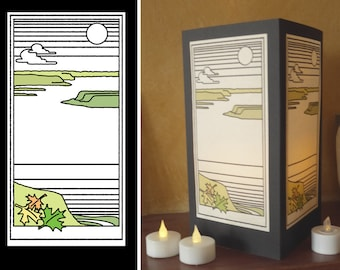 "Paper luminary - ""River and Lake"" design"