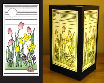 "Paper luminary - ""Spring Blooms"" design"
