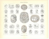 Original 1906 Antique lithography print of different ancient gems and cameos - historic artifacts - coins and seals - Greek and Roman