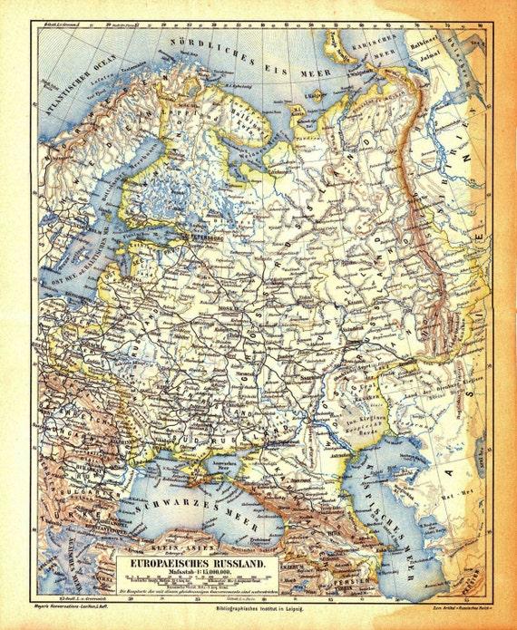 Russia Map Original Vintage Print Of European Russia Etsy