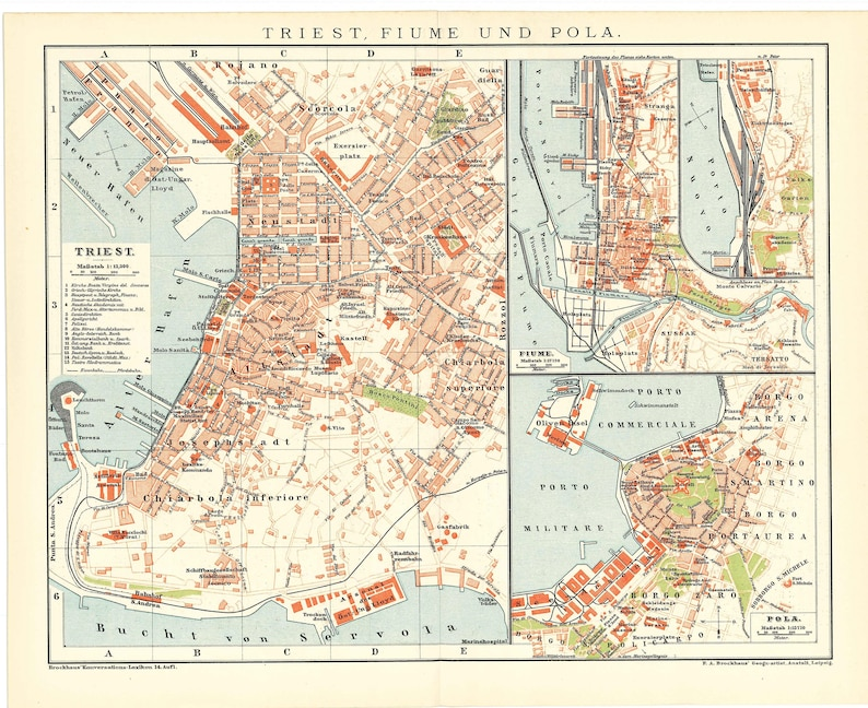 Original 1895 Antique Color Lithography Print Of A Map Of The Cities Of Trieste Italy Fiume Or Rijeka And Pola Croatia