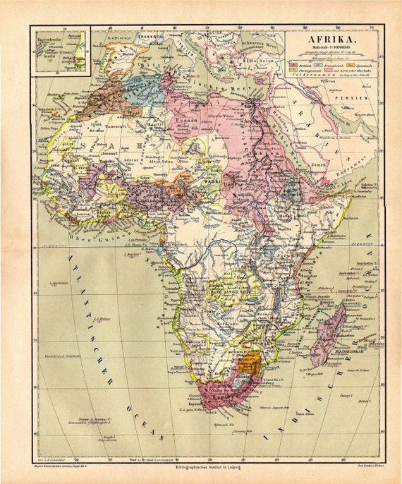 Africa Map Original Antique Color Print Of African Etsy