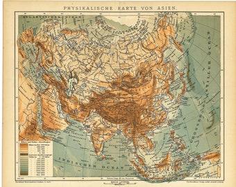 Original 1901 Antique Color lithography print physical geographic map Asia Eurasia Afro Pacific Ocean Indian Arctic Suez Caucasus Turkish