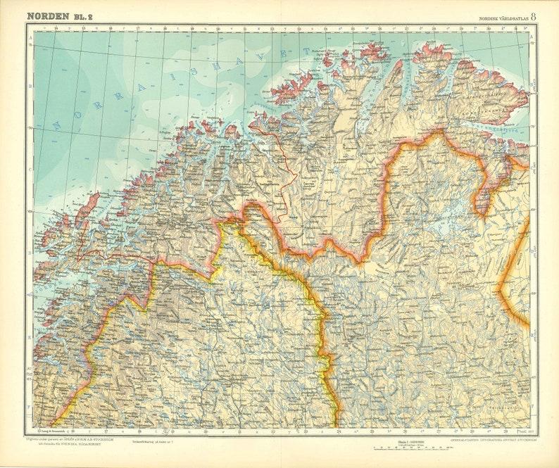 Karte Norwegen Schweden.Norwegen Schweden Finnland Karte Original Lithographie Großdruck Globe Europa