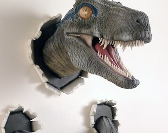 wall bursting blue velociraptor prop replica - New version!
