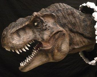 Life-like wall bursting T-Rex Tyrannosaurus bust hanging prop replica