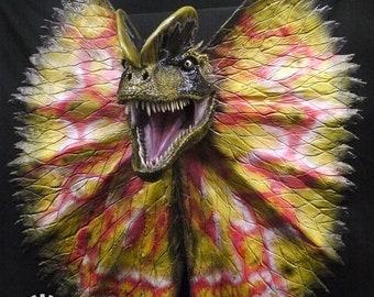 Life size Dilophosaurus (spitter) dinosaur head prop replica