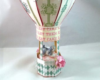 Hand-made, Paper Let Them Eat Cake Hot Air Balloon Mobile Model