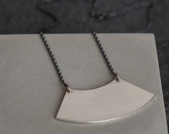 Architecture Inspired Sterling Silver Curve Necklace