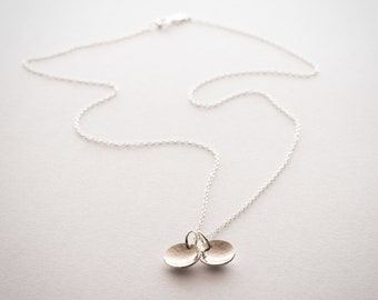 Hammered Initial Necklace Handmade from Sterling Silver
