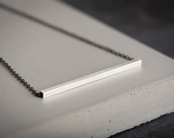 Architecture Inspired Sterling Silver Bar Necklace