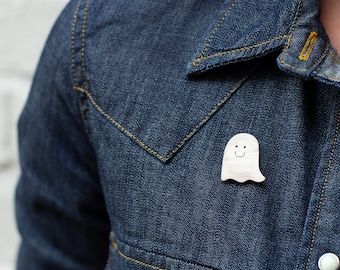 Sterling Silver Pin Badge - Happy Ghost