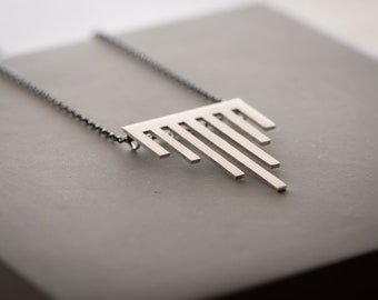 Hand Sawn Hanging Bars Architecture Inspired Sterling Silver Necklace