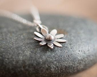 Handmade Sterling Silver Flower Necklace