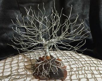 Wire Tree Art on Sea Glass