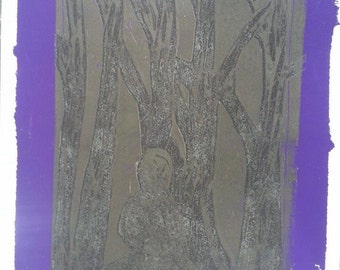 Black on Purple Zazen Print