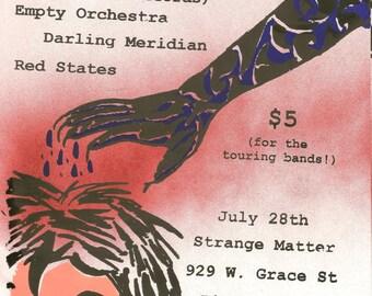Various screenprinted show flyers