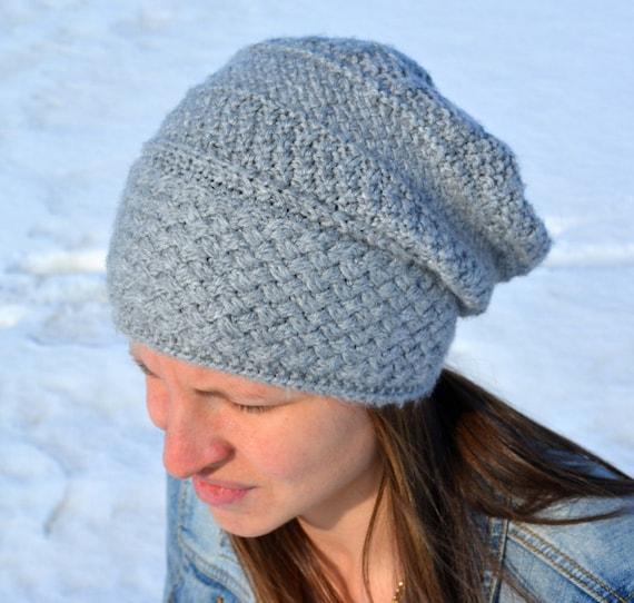 Knitting Pattern Pdf Adult Slouch Hat Knit Pattern Slouch Etsy