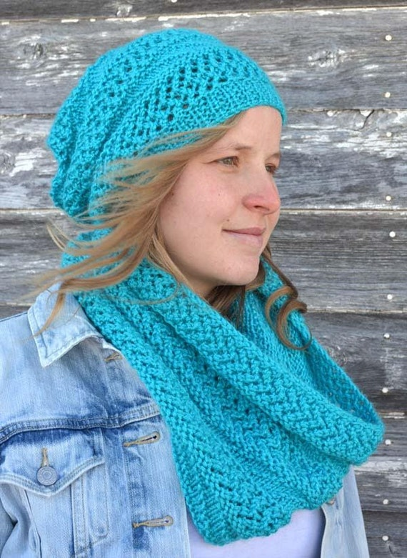 Knitting Pattern Pdf Hat And Scarf Set Knit Pattern Hat And Etsy