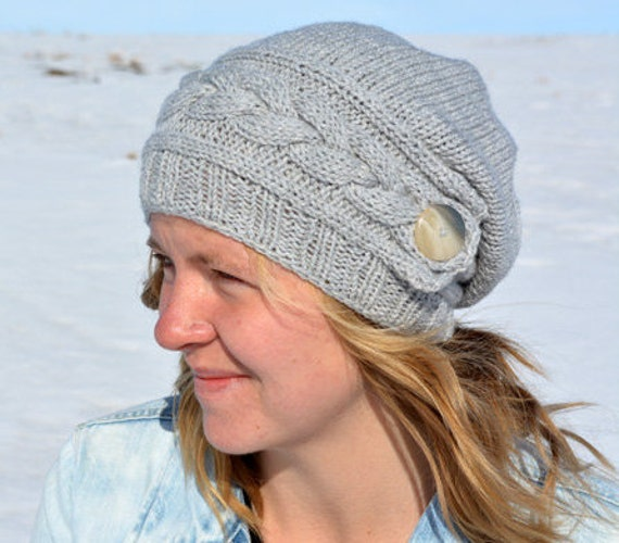 Hat Knitting Pattern Knitted Hat Knitted Slouch Hat Etsy