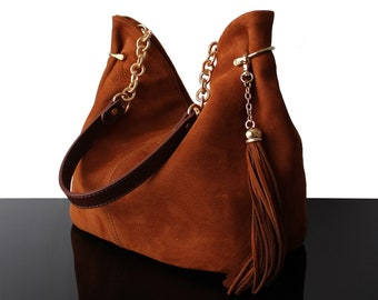 Leather bucket bag, Cognac bag, suede hobo bag, suede bags, suede cognac bag, hobo bags, leather hobo bag, brown bag, luxury bag, hobo